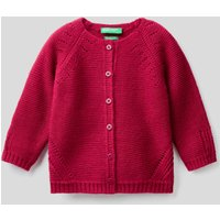 Benetton, Cardigan With Perforated Details, size XX, Cyclamen, Kids