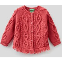 Benetton, Cardigan With Cable Knit, size 62, Strawberry, Kids