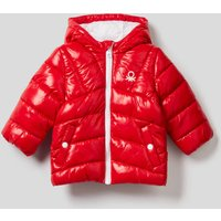 Benetton, Padded Jacket In Recycled Wadding, size 98, Red, Kids