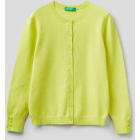 Benetton Online exclusive, Cardigan With Buttons, size EL, Lime, Kids