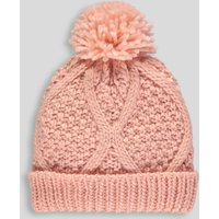 de3c1433 Matalan Girls Cable Knit Bobble Hat (313yrs) in age 3 7 years pastel pink