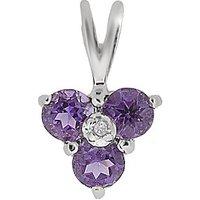 9ct W/G Amethyst & Diamond Pendant