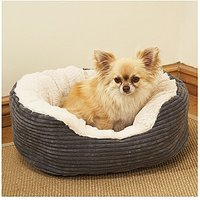 40 Winks Grey Cord/Plush Oval Bed 20