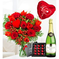 J'adore Deluxe Gift - Valentine's Flowers - Valentine's Gifts - Red Roses and Tulips - Flowers with Wine