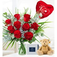 Romantic Rose Bundle - Valentine's Flowers - Valentine's Gifts - 9 Red Roses