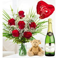 My Valentine Sparkling Gift - Valentine's Flowers - Valentine's Gifts - 6 Red Roses