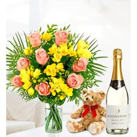 Rose and Freesia Gift Bundle - Free Chocs