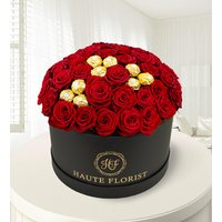 Ferrero Rose Hat Box - Luxury Roses - Hat Box Flowers - Valentine's Flowers - Anniversary Flowers