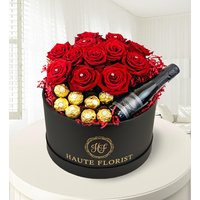 Grand Roses and Prosecco - Red Roses - Valentine's Flowers - Luxury Flowers - Roses in a Hat Box