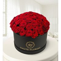 Grand Gesture - Luxury Flowers - Hat Box Flowers - Luxury Red Roses - Roses in a Hat Box - Flowers - Flower Delivery
