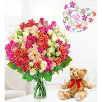 100 Roses Bear and Balloon - Free Chocs