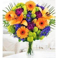 Joyful - Free Chocs - Gerberas, Carnations and Orange Lilies - Flower Delivery