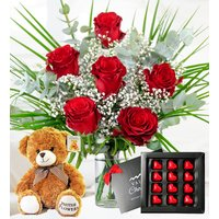 My Valentine Bundle - Valentine's Flowers - Valentine's Gifts - 6 Red Roses - Red Roses with Chocolates