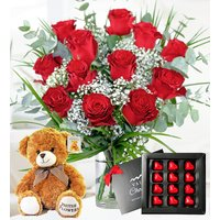 12 Roses Gift Bundle - Dozen Red Roses - Anniversary Hampers