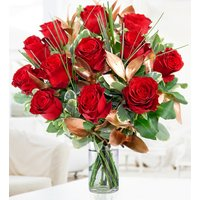 Valentine's 12 Luxury - 12 Red Roses - Valentine's Flowers - Luxury Red Roses - Anniversary Flowers