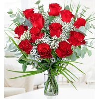 12 Romantic Red Roses - Free Chocs - 12 Red Roses - Dozen Red Roses - Red Roses Bouquet - Anniversary Flowers - Romantic Flowers