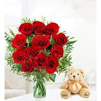12 Roses and Bear - Free Chocs
