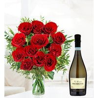 Valentines Prosecco and Roses - Free Chocs