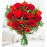 J'adore - Free Chocs - Valentine's Flowers - Red Roses and Red Tulips - Anniversary Flowers