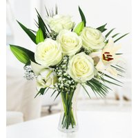 Solstice - Free Chocs - Sympathy Flowers - Condolence Flowers - White Bouquet - Flower Delivery