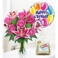 Rose Lily Balloon & Birthday Cake - Free Chocs