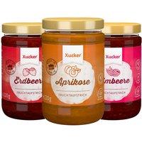 Xucker 3er Fruchtaufstrich-Kombi Aprikose, Erdbeere, Himbeere (3x220g)