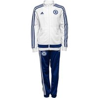 adidas Junior CFC Chelsea 3 Stripe Poly Tracksuit White/Chelsea Blue