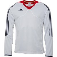 adidas Mens 3 Stripe Long Sleeve Poly Training Top White/Navy/Red
