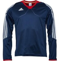 adidas Mens 3 Stripe Long Sleeve Poly Training Top Navy/White/Red