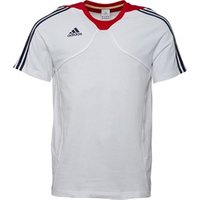 adidas Mens 3 Stripe Cotton Training Top White/Navy/Red