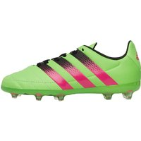 adidas Junior ACE 16.1 FG / AG Leather Football Boots Solar Green/Shock Pink/Core Black