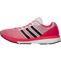 adidas Womens Adizero Boston Boost 5 Lightweight Neutral Running Shoes White/Core Black/Shock Red