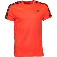 adidas Mens Essentials 3 Stripe ClimaLite T-Shirt Semi Solar Red/Black