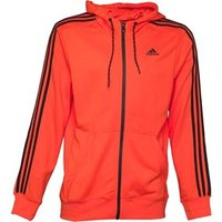adidas Mens Essentials 3 Stripe ClimaLite Poly Hooded Top Semi Solar Red/Black