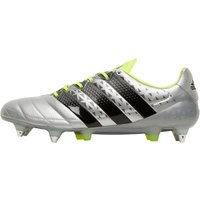 adidas Mens ACE 16.1 SG Leather Football Boots Silver Metallic/Core Black/Solar Yellow