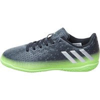 adidas Junior MESSI 16.4 IN Indoor Football Boots Dark Grey/Silver Metallic/Solar Green