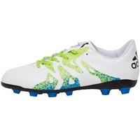 adidas Junior X 15.4 FxG Football Boots White/Semi Solar Slime/Core Black