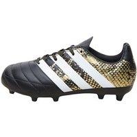 adidas Junior ACE 16.3 FG Leather Football Boots Core Black/White/Gold Metallic