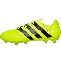adidas Mens ACE 16.2 FG Leather Football Boots Solar Yellow/Core Black/Silver Metallic