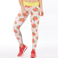adidas Womens STELLASPORT Printed ClimaLite Tight Leggings White/Bold Yellow