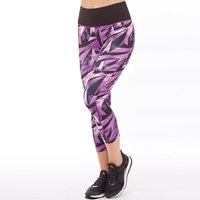 adidas Womens All Over Print ClimaLite High-Rise 3/4 Capri Leggings Multicolour/Shock Purple