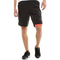 adidas Mens Ass 2 Grass TechFit ClimaLite 2 in 1 Training Shorts Black/Utility Black/Shock Red