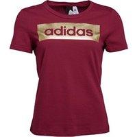 adidas Womens Linear Foil T-Shirt Mystery Ruby