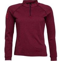 adidas Womens Club Midlayer 1/2 Zip Long Sleeve Top Dark Burgundy/Energy Pink