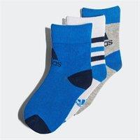 adidas Kids Three Pack Ankle Socks White/Blue/Medium Grey Heather