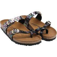 Birkenstock Womens Mayari BF Shiny Snake Print Sandals Black/Multi