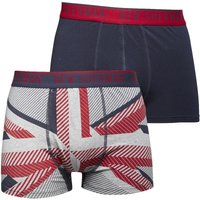 Ben Sherman Mens Gabriel Two Pack Boxers Navy/Grey Marl/Red Print
