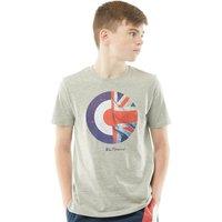 Ben Sherman Junior Boys Union Jack Target T-Shirt Vintage Grey Heather