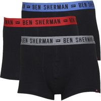 Ben Sherman Mens Asher Three Pack Boxer Trunks Black With Green/blue/red