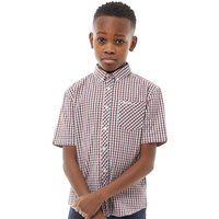 Ben Sherman Junior Boys House Check Short Sleeve Shirt Deep Red